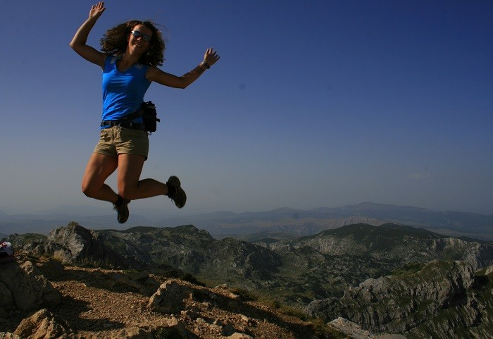 Jumping at Bobotov Kuk, Montenegro's Highest Peak